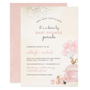 Sweet Blush Pink Balloons Car Drive By Baby Shower Invitation