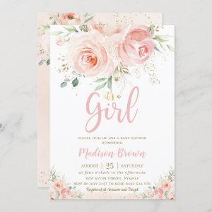 Sweet Blush Pink Floral Gold Girl Baby Shower Invitation