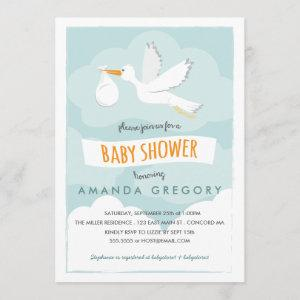Sweet Delivery Stork Baby Shower Invitation