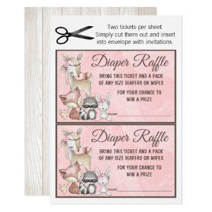 Sweet Forest Woodland Girls Diaper Raffle Insert Invitation