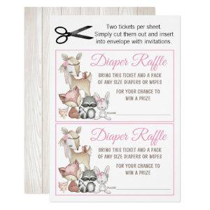 Sweet Forest Woodland Girls Diaper Raffle Invitation