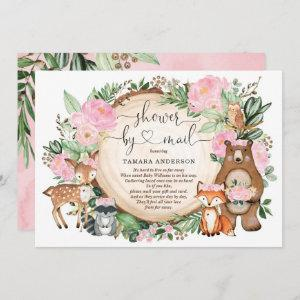 Sweet Girl Woodland Animals Baby Shower By Mail Invitation