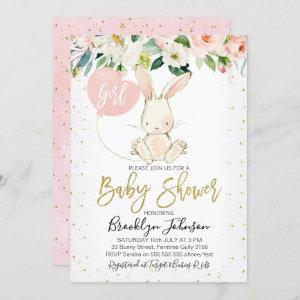 Sweet Girl's Floral Bunny Baby Shower invitation