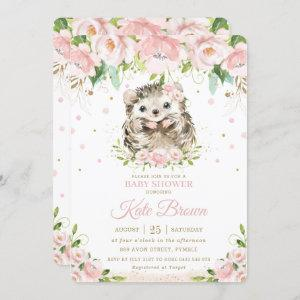 Sweet Hedgehog Blush Pink Floral Gold Baby Shower Invitation