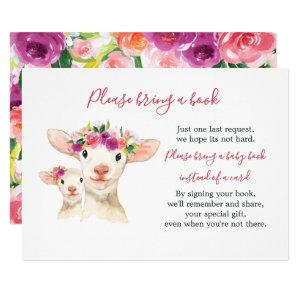 Sweet Mom And Baby Lamb Baby Shower Book Card