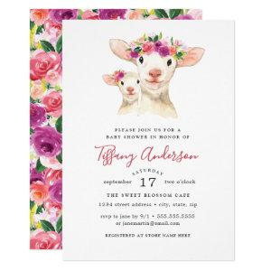 Sweet Mom And Baby Lamb Floral Baby Shower Invitation