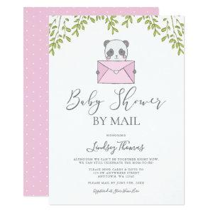 Sweet Pink Panda Girl Baby Shower by Mail Invitation