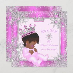 Sweet Princess Baby Shower Snowflake Pink Ethnic Invitation