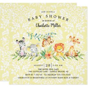 Sweet Safari Animals Gender Neutral Baby Shower Invitation