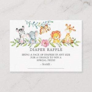 Sweet Safari Baby Shower Diaper Raffle Ticket Enclosure Card