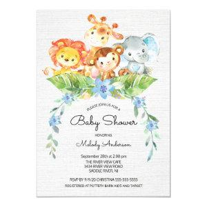 Sweet Safari Jungle Boys Baby Shower Invitation