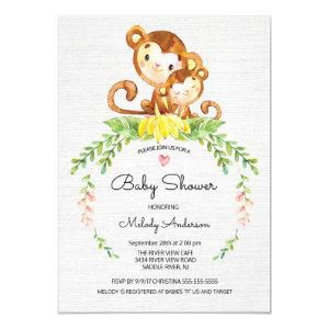Sweet Safari Jungle Monkey Baby Shower Invitation