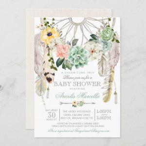 Sweet Succulents Dream Catcher Boho Baby Shower Invitation