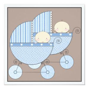 Sweet Twin Boy Two Carriage Baby Shower Invitation
