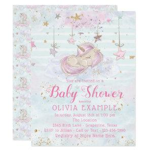 Sweet Unicorn Baby Shower Invitations