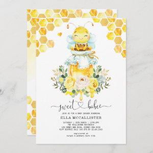 Sweet Yellow Gold Honey Bee Floral Baby Shower