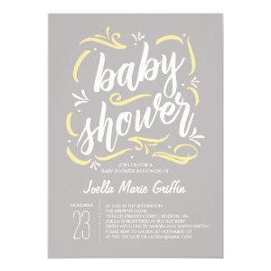 Sweetest Gray and Yellow Baby Shower Invitation