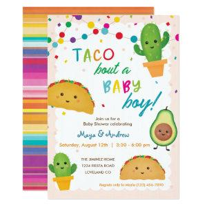 Taco bout a baby boy - fiesta theme baby shower invitation