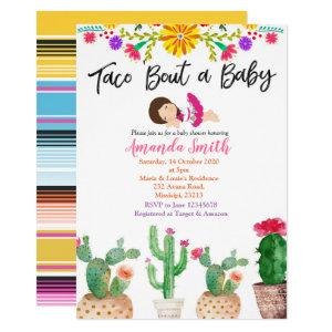 Taco Bout A Baby cactus baby shower Invite girl