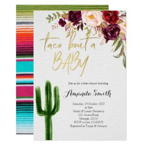 Taco bout baby Marsala Couples Shower Invitation
