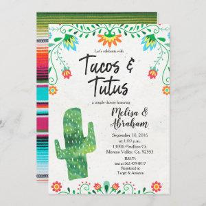 Tacos and Tutus Fiesta Baby Shower Invite card