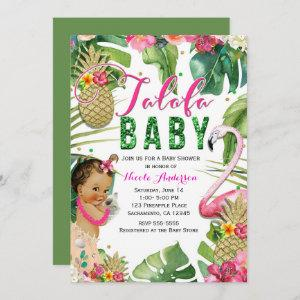 Talofa Tropical Floral Baby Girl Vintage Shower Invitation