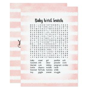 Tan Bunny Pink Baby Word Search Game Card