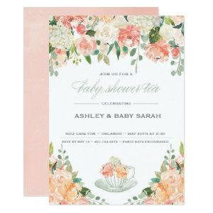 Tea Baby Shower Invitation Garden Floral