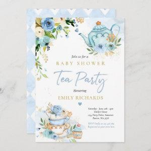 Tea Party Baby Shower Boy Blue Rose Baby Brewing Invitation