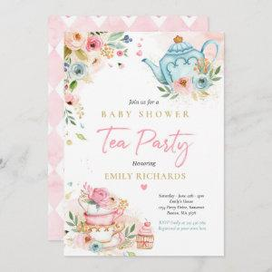 Tea Party Baby Shower Girl Pink Roses Baby Brewing Invitation