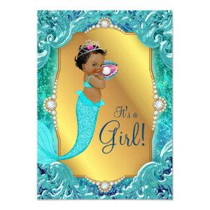 Teal African American Mermaid Sea Baby Shower Invitation