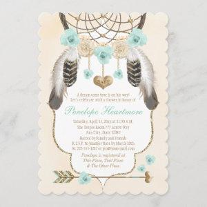 Teal and Gold Dreamcatcher Boho Baby Boy Shower
