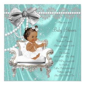 Teal Blue Pearl Chair Ethnic Girl Baby Shower Invitation