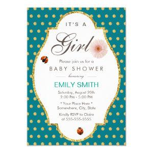 Teal Gold Dots Daisy & Ladybug Girl Baby Shower Invitation