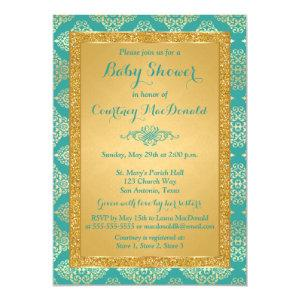Teal, Gold FAUX Glitter Baby Shower Invite