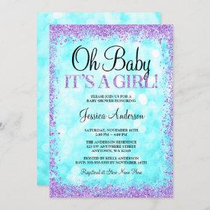 Teal Purple Faux Glitter Lights Girl Baby Shower Invitation