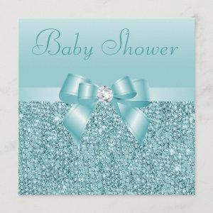 Teal Sequins, Bow & Diamond Baby Shower Invitation