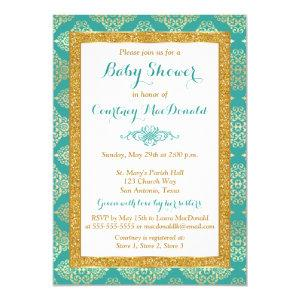 Teal, White, Gold FAUX Glitter Baby Shower Invite