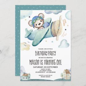 Teddy Bear Airplane Birthday Invitation