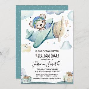 Teddy Bear Airplane | Virtual Baby Shower Invitation