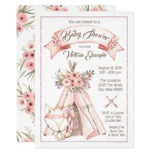 TeePee Fox Girl Tribal Baby Shower Invitations