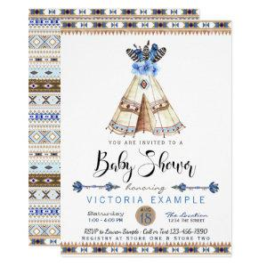 Teepee Tribal Baby Shower Invitations