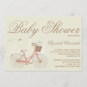 Terrier on a Pink Bicycle Baby Shower Invitation