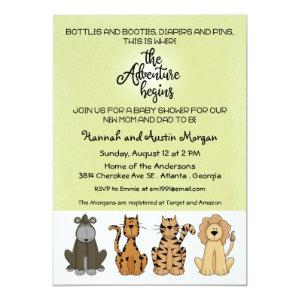The Adventure Begins Couples Baby Shower Invitation