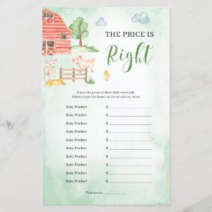 The price is right Baby Shower game farm theme