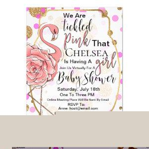 Tickled Pink - Pink Flamingo - Virtual Baby Shower Invitation