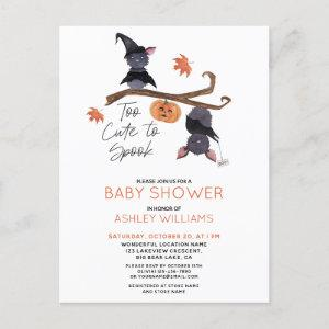 Too Cute to Spook Watercolor Bats Baby Shower  Postcard