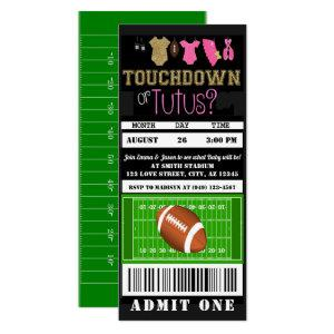 Touchdown or Tutus Football Ticket Gender Reveal Invitation
