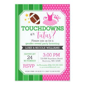 Touchdowns or Tutus Gender Reveal Party Invitation