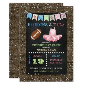 Touchdowns & Tutus Twins Birthday or Baby Shower Invitation